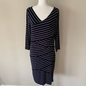 Vince Camuto Navy/White Stripes Layered Dress